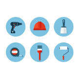 Set of flat icons with construction tools Stock Photo