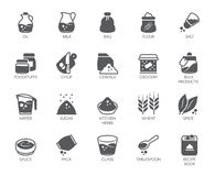 Set of 20 flat icons on cookery theme. Ingredients for cooking and kitchen accessories. Vector illustration. Set of 20 flat icons on cookery theme. Ingredients Royalty Free Illustration