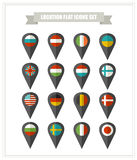 Set of flat icons country location. Royalty Free Stock Photo