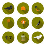 Set of flat icons crow. In vector format eps10 Stock Image