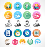 Set flat icons Royalty Free Stock Photos