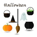 Set of flat icons, design Happy Halloween Holiday. Attributes for witchcraft and witches Stock Photos