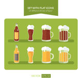 Set with flat icons of different kinds of beer Royalty Free Stock Image