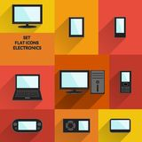 Set of flat icons electronics. Technology and multimedia gadgets with fashionable long shadows. Stock Photos