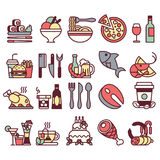 Set of flat icons and elements with food and drinks for restaurant or commercial. colorful and with line Stock Photo