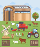 Set flat icons on farming and agriculture theme. Set of modern flat icons, elements, objects on farming and agriculture theme Stock Images