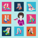 A set of Flat icons  of fashion  Footwear-illustration Royalty Free Stock Images