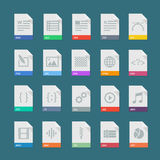 A set of flat icons of file formats. Signs of document types.  set of documents file formats. Icons of file types on a colored background. Flat set of file Stock Image