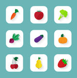 Set of flat icons - fruits and vegetables. Vector set of flat icons - fruits and vegetables Royalty Free Stock Photos