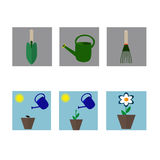 A set of flat icons on gardening Royalty Free Stock Photography