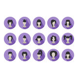 Set of flat icons of hairstyles for woman Royalty Free Stock Photo
