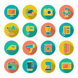 Set flat icons of home technics and appliances. Isolated on white vector illustration