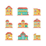 Set flat icons of houses and buildings Royalty Free Stock Image