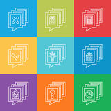 Set of flat icons. Linear collection of web symbols. Stock Photos