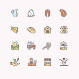Set flat icons of linear natural products. Royalty Free Stock Images