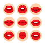 Set of flat icons with lips. Stock Image