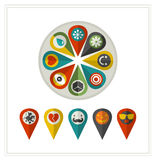 Set of flat icons location. Stock Images