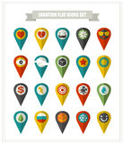 Set of flat icons location. Royalty Free Stock Images