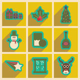 Set of flat icons with long shadow Christmas Royalty Free Stock Images