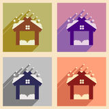 Set flat icons with long shadow Christmas barn Royalty Free Stock Images