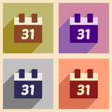 Set flat icons with long shadow Christmas calendar Royalty Free Stock Images