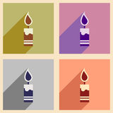 Set flat icons with long shadow Christmas candle Stock Photo