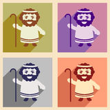 Set flat icons with long shadow Father of Jesus Christ Royalty Free Stock Photography