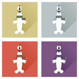 Set of flat icons with long shadow  fur seal Royalty Free Stock Photography