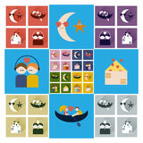 Set of flat icons with long shadow love Stock Photos