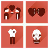 Set of flat icons with long shadow love icons Stock Photos