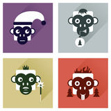 Set of flat icons with long shadow Monkey Stock Photography