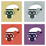 Set of flat icons with long shadow Monkey Royalty Free Stock Image