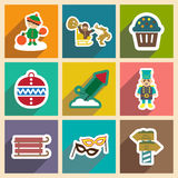 Set flat icons  with long shadow New Year's and Royalty Free Stock Photography
