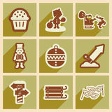 Set flat icons with long shadow New Year's and Christmas Stock Photo