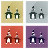 Set of flat icons with long shadow pair penguins Stock Photos