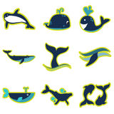 Set flat icons with long shadow whales Royalty Free Stock Images