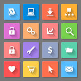 Set of flat icons. With long shadows for web design and applications Stock Image
