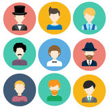 Set of Flat Icons with Man Characters. Set of Flat Circle Icons with Different Man Fashion Styles. Vector characters Stock Image