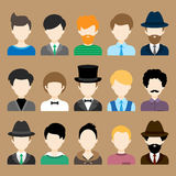 Set of Flat Icons with Man Characters. Set of Flat Circle Icons with Different Man Fashion Styles. Vector characters Royalty Free Stock Photos