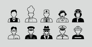 Set Flat Icons with Man of Different Professions. Royalty Free Stock Photography
