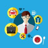 Set Flat Icons with Man of Different Professions. Profession set. Set Flat Icons with Man of Different Professions Stock Images