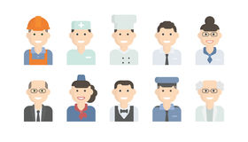 Set Flat Icons with Man of Different Professions. Stock Photography