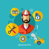 Set Flat Icons with Man of Different Professions Stock Photos