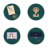 Set of flat icons about media, news icons. Royalty Free Stock Photography