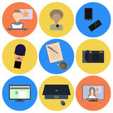 Set of flat icons about media, news icons Royalty Free Stock Images