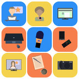 Set of flat icons about media, news icons Royalty Free Stock Image