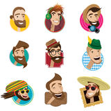 Set of flat icons with men heads Royalty Free Stock Photos