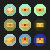 Set of flat icons for messages. Vector illustration. Set of flat icons on a round different color buttons with long shadows for messages. Vector illustration Royalty Free Stock Images