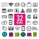 Set of flat icons for mobile app and web on white background. Collection modern infographic logo and pictogram. Eps10 stock illustration