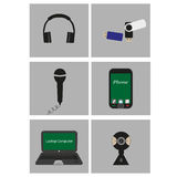 Set of flat icons - mobile technology Stock Images